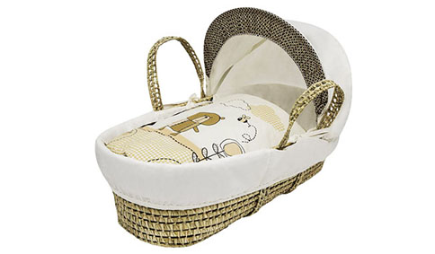 Kinder Valley Tiny Ted Cream Moses Basket 484x283