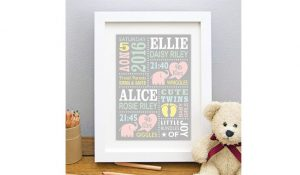 Personalized Twin Baby Print Frame