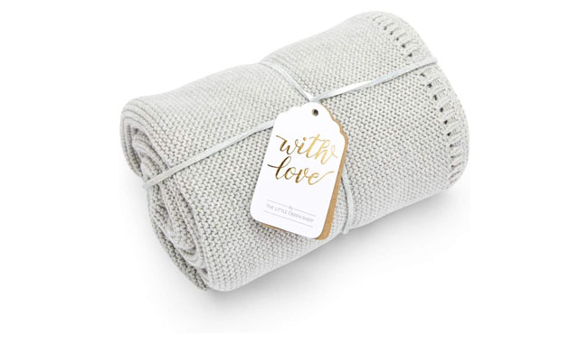 The Little Green Sheep Organic Knitted Cellular Baby Blanket