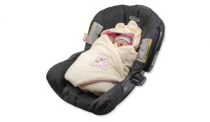BlueberryShop Thermo Terry Blue Car Seat Blanket