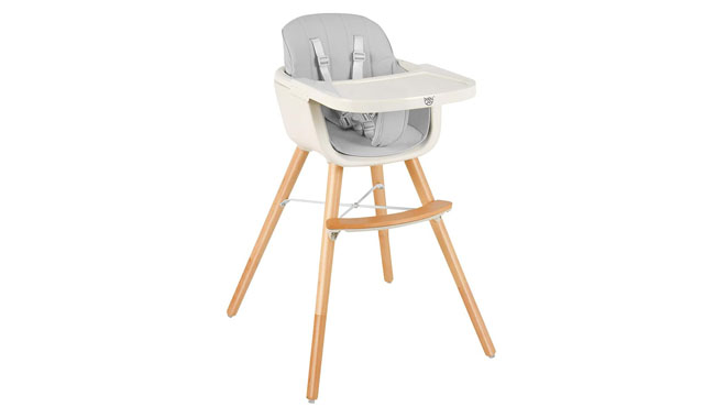 GYMAX Wooden Baby Highchair